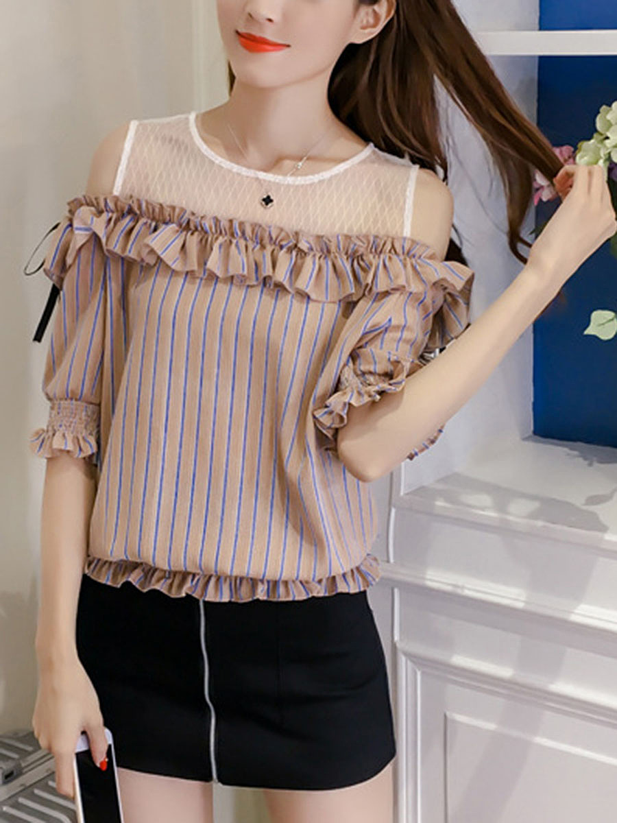 Open Shoulder Ruffle Trim Vertical Striped Blouse