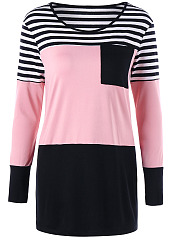 Color-Block-Striped-Round-Neck-Long-Sleeve-T-Shirt