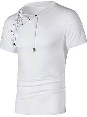 Lace-Up  Plain  Short Sleeve Short Sleeves T-Shirts