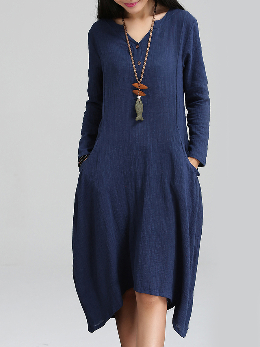 Split Neck Solid Pocket Loose Maxi Dress