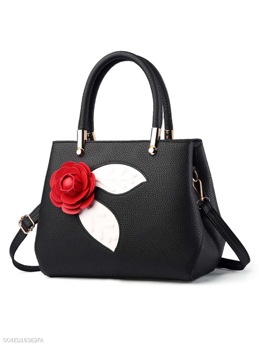 Embossed Floral Pu Shoulder Bag