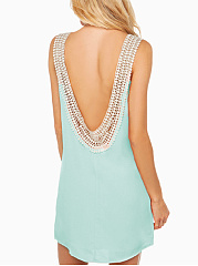 Round Neck  Backless Decorative Lace  Plain Shift Dress