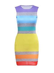 Attractive-Designed-Crew-Neck-Color-Block-Striped-Bodycon-Dress