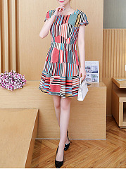 Round Neck Multi-Color Striped Skater Dress