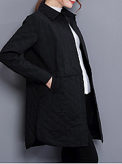 Turn Down Collar  Quilted  Plain Coats