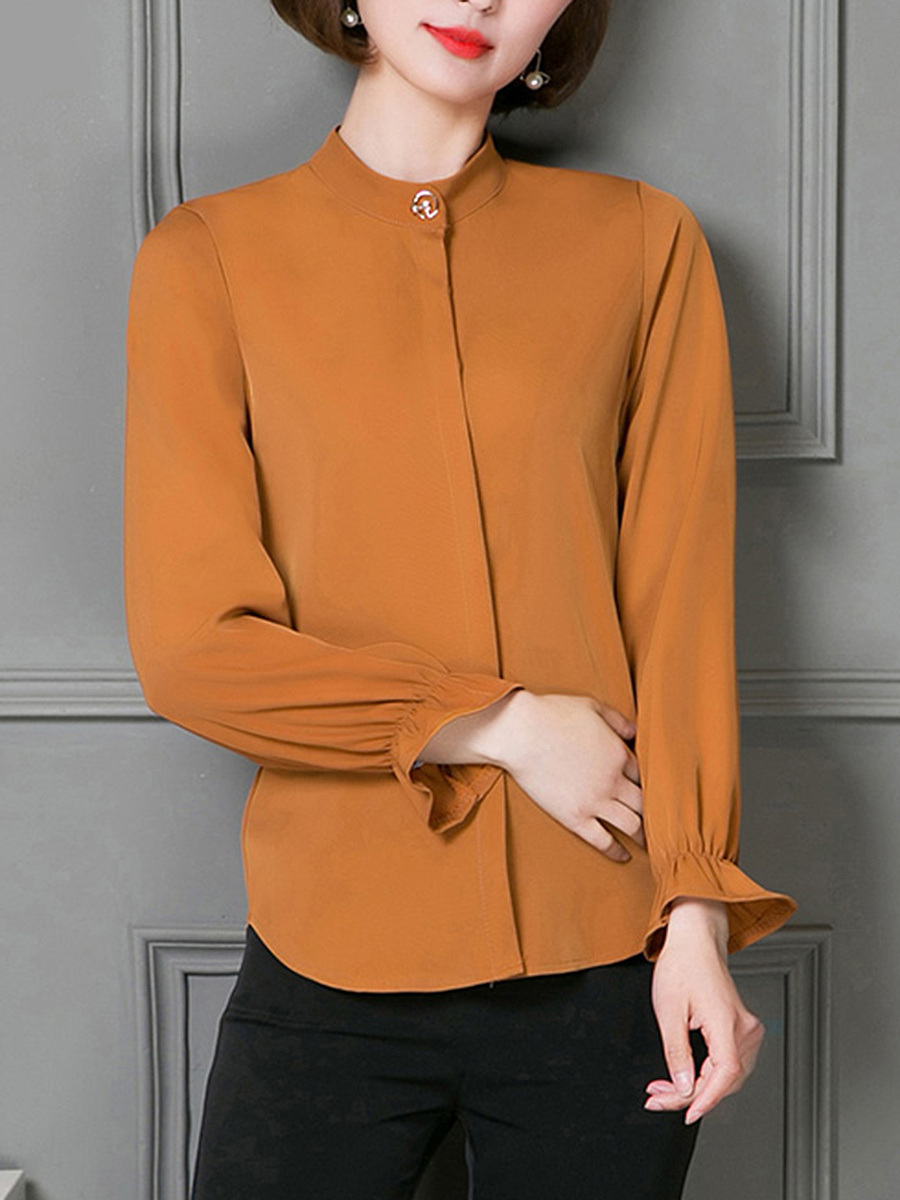 Band Collar  Plain Chiffon Long Sleeve Blouse