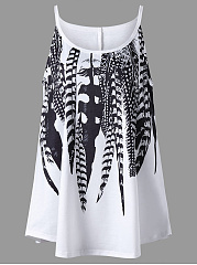 Spaghetti Strap Feather Printed Plus Size T-Shirt