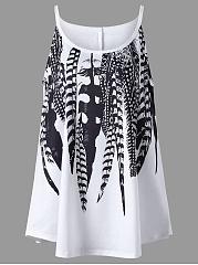 Spaghetti-Strap-Feather-Printed-Plus-Size-T-Shirt