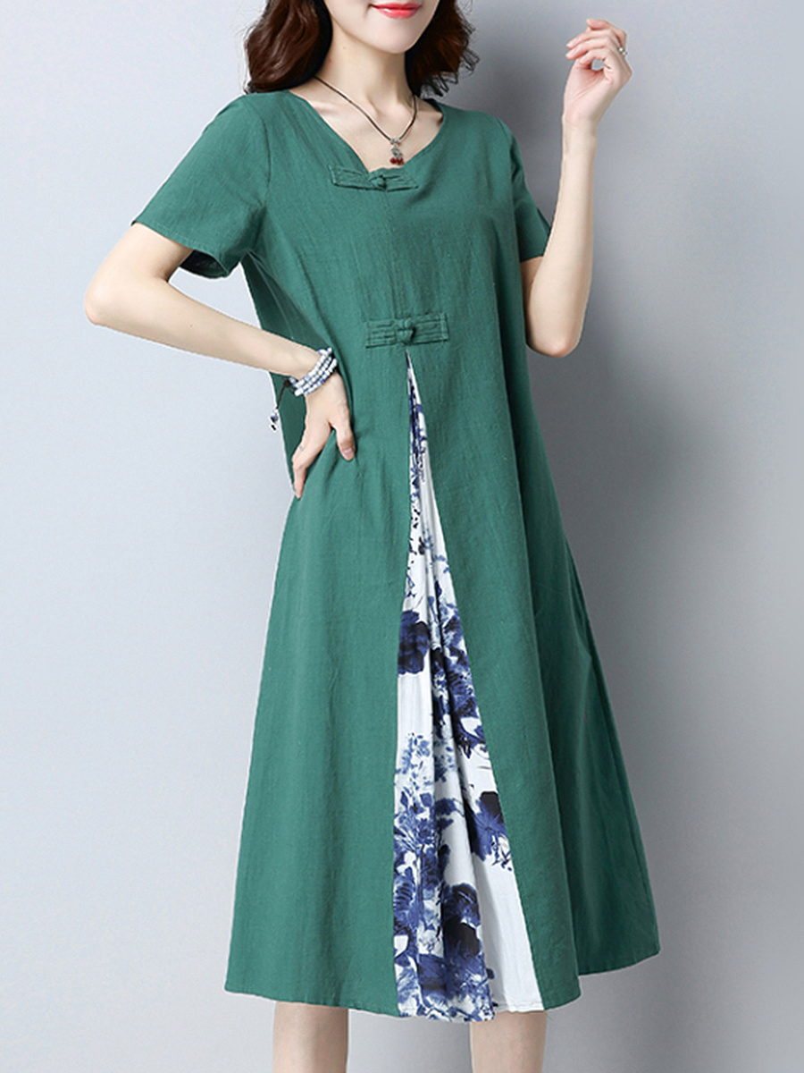 Asymmetric Neck  Printed Loose Maxi Dress