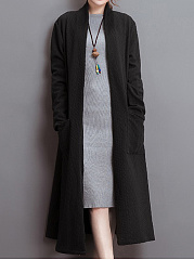 Collarless Patch Pocket Embossed Plain Coat