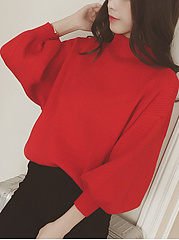 High Neck Plain Puff Sleeve Sweater