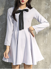 Doll Collar  Bowknot Ruffled Hem  Color Block Plain Skater Dress