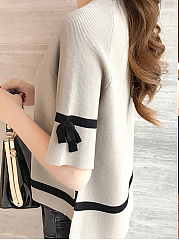 Round Neck  Contrast Piping  Plain  Half Sleeve Sweaters Pullover