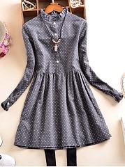 Band-Collar-Polka-Dot-Blend-Skater-Dress