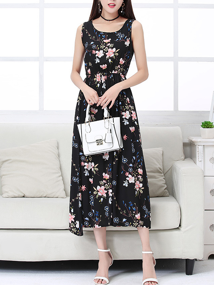 Round Neck Floral Printed Elastic Waist Maxi Dress