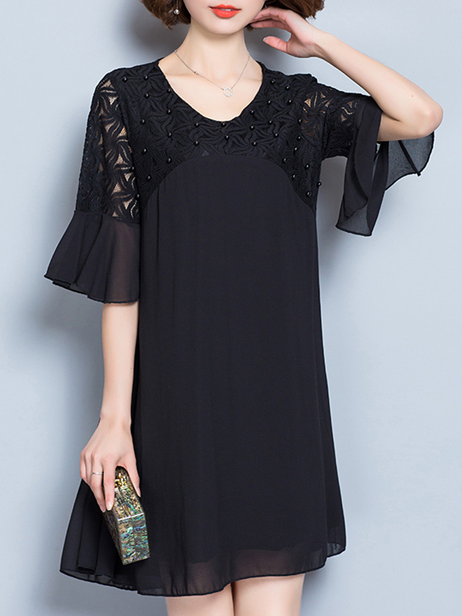 Beading Hollow Out Plain Bell Sleeve Chiffon Shift Dress
