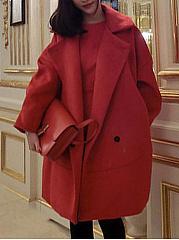 Fold-Over-Collar-Plain-Long-Sleeve-Coats