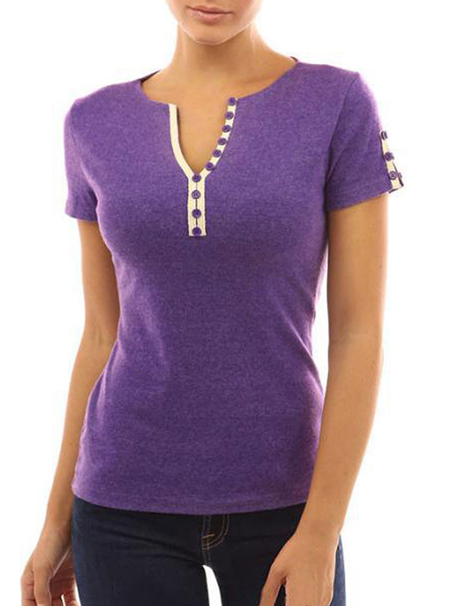 Summer  Polyester  Women  V-Neck  Decorative Button  Plain Short Sleeve T-Shirts