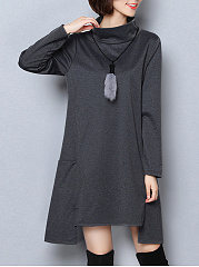 High-Neck-Asymmetric-Hem-Pocket-Plain-Shift-Dress