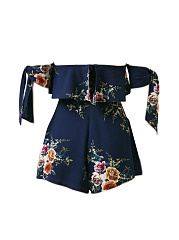 Off Shoulder Flounce Floral Printed Romper With Tie Sleeve