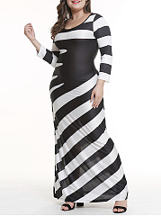 Round Neck  Patchwork  Asymmetric Stripe Plus Size Bodycon Dress