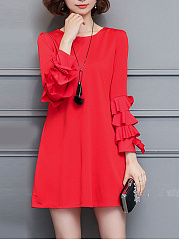 Bell-Sleeve-Solid-Round-Neck-Shift-Dress