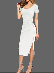 Round Neck  Plain  Blend Bodycon Dress
