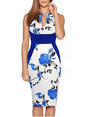 Split-Neck-Floral-Printed-Sleeveless-Bodycon-Dress