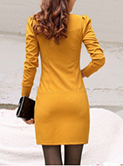 Square Neck Plain Bodycon Dress