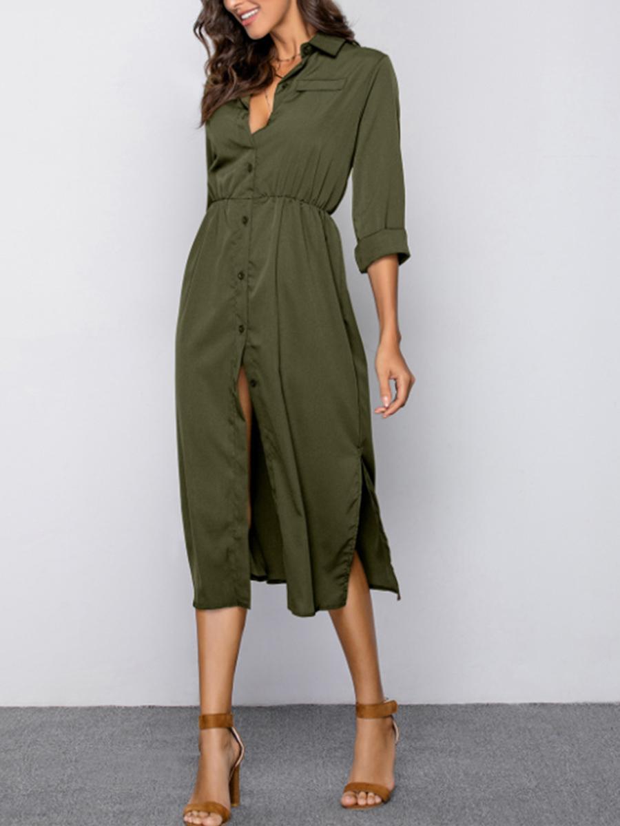 Fold-Over Collar Elastic Waist Plain Maxi Dress