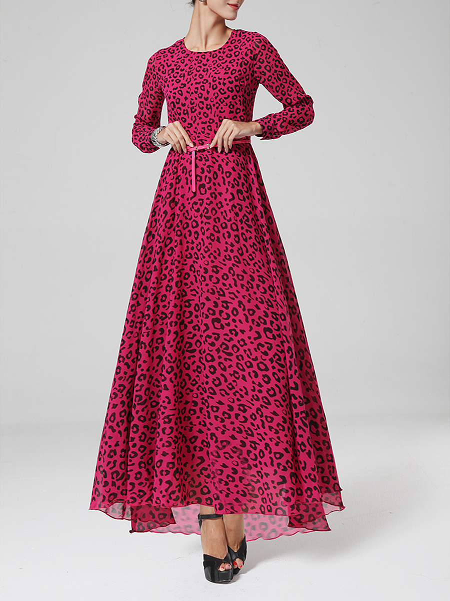 Round Neck  Belt  Leopard  Chiffon Maxi Dress