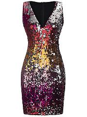 Colorful-Glitter-Deep-V-Neck-Bodycon-Dress
