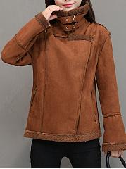 Lapel-Zips-Pocket-Plain-Fleece-Lined-Jacket