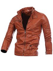 Designed-Band-Collar-Plain-PU-Leather-Men-Jacket