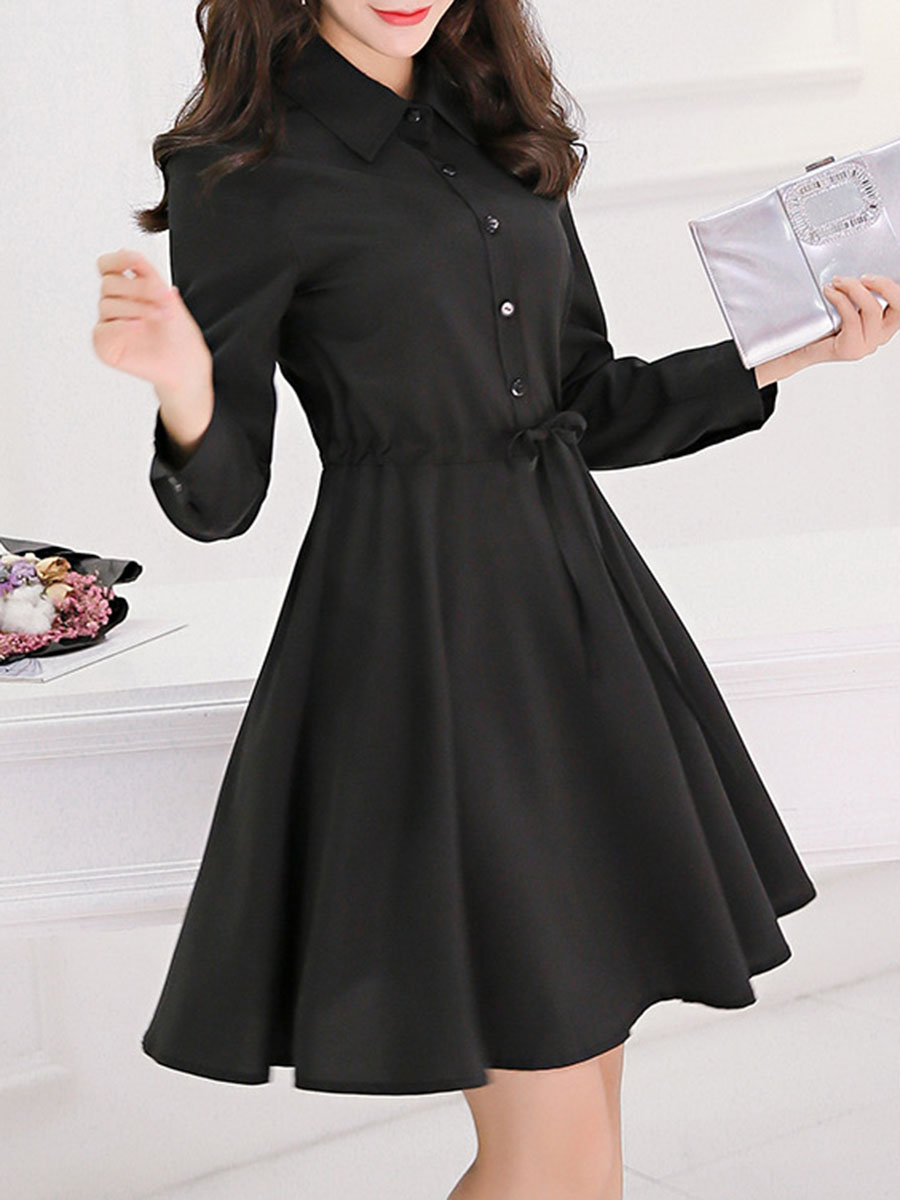 office outfit drawstring plain date office autumn spring flared Turn Down Collar Drawstring Plain Skater Dress