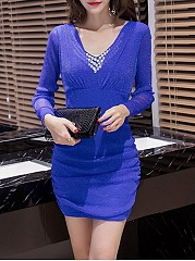 V-Neck Hollow Out Plain Rhinestone Mini Bodycon Dress