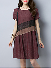 Casual-Round-Neck-Striped-Shift-Dress