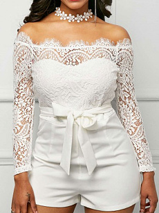 Fashionmia All White Lace Jumpsuit Fashionmiacom