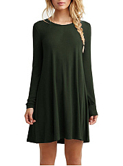 Round Neck Plain Mini Shift Dress