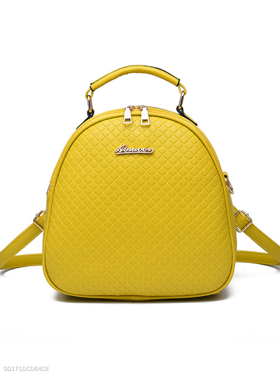Pu Embossed Plaid Round Backpack Crossbody Bag