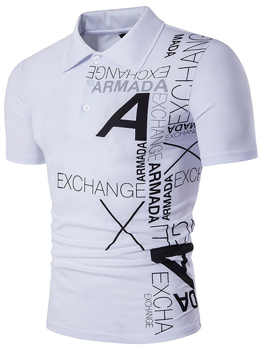 Polo Collar Men Letters Printed T-Shirt