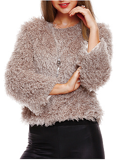 Warm Round Neck Plain Faux Fur Sweater
