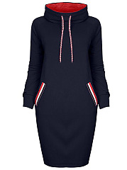 Hooded-Drawstring-Striped-Pocket-Shift-Dress