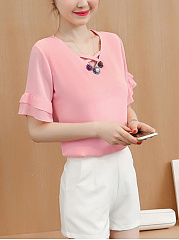 V-Neck  Decorative Button  Bell Sleeve Blouse