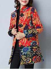 Band-Collar-Pocket-Tribal-Printed-Coat