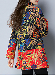 Band Collar Pocket Tribal Printed Coat