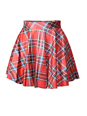 Elastic-Waist-Classic-Plaid-Pretty-Flared-Mini-Skirt