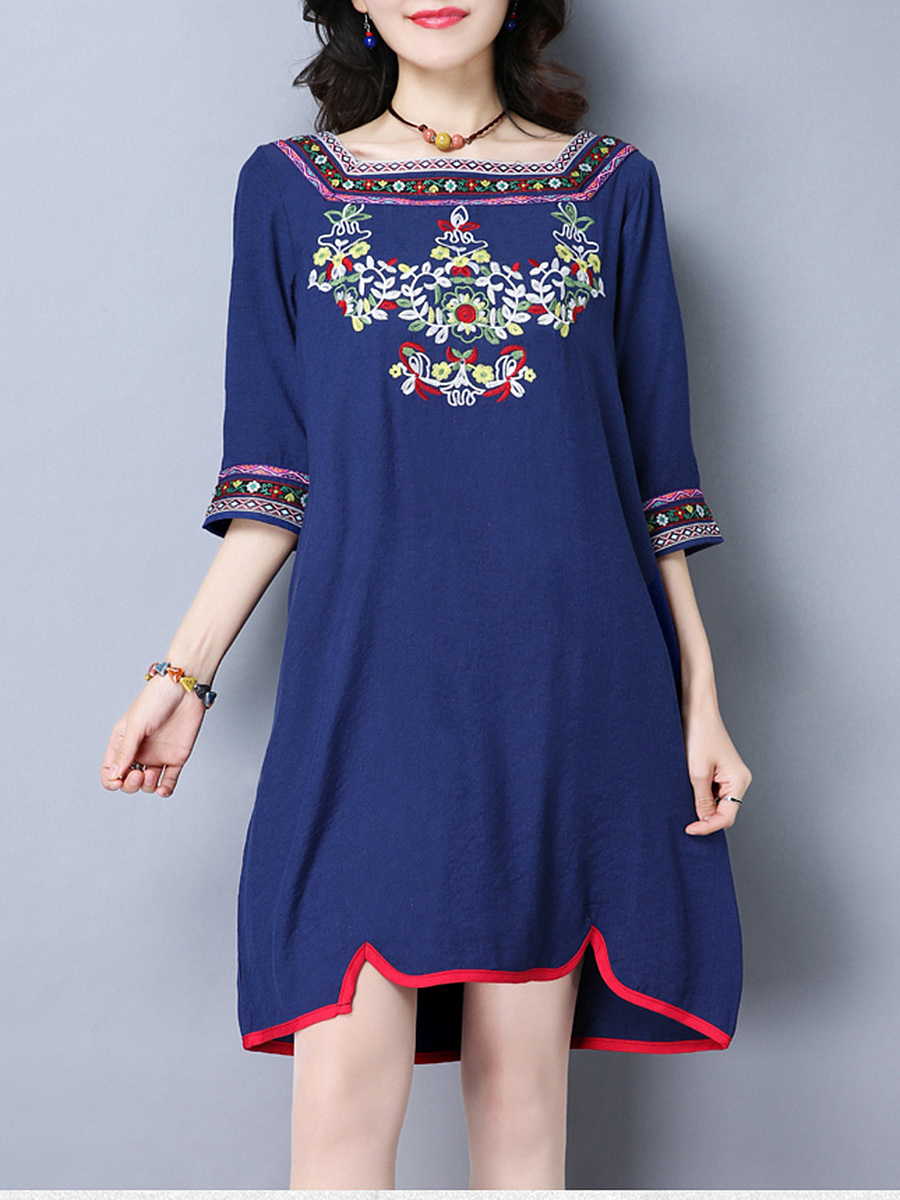 Square Neck  Contrast Trim  Embroidery  Shift Dress