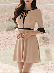 Tie Collar Color Block Bell Sleeve Skater Dress