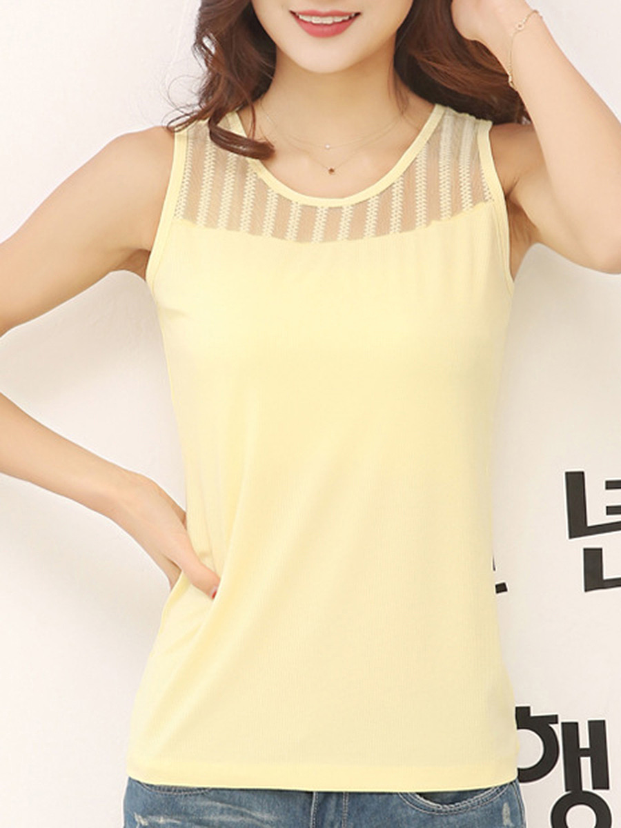 Patchwork Hollow Out Plain Round Neck Sleeveless T-Shirt
